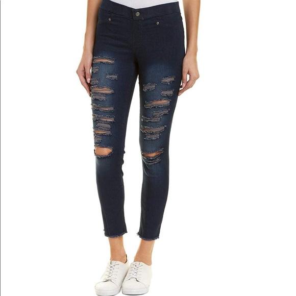 03a6295298b644 HUE Pants | Nwt Ripped Denim Skimmer Leggings | Poshmark